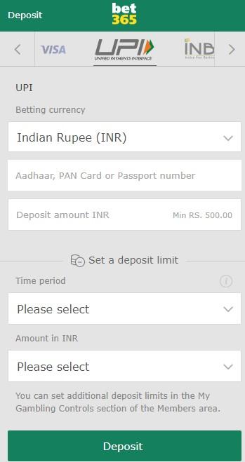 Bet365 Deposit Screen