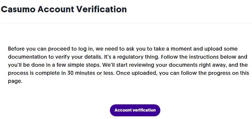 Casumo Account Verification