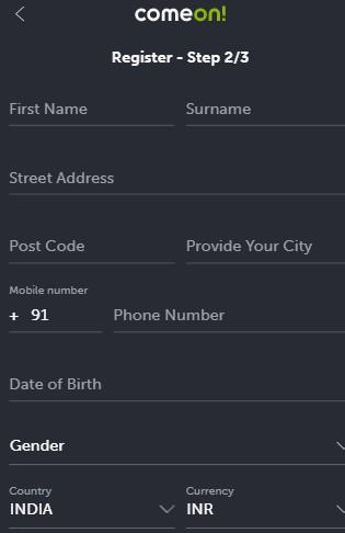 ComeOn Casino Registration 03