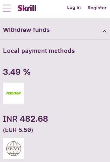 Skrill Withdrawal Fees